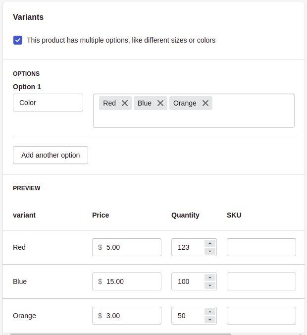Add products variants