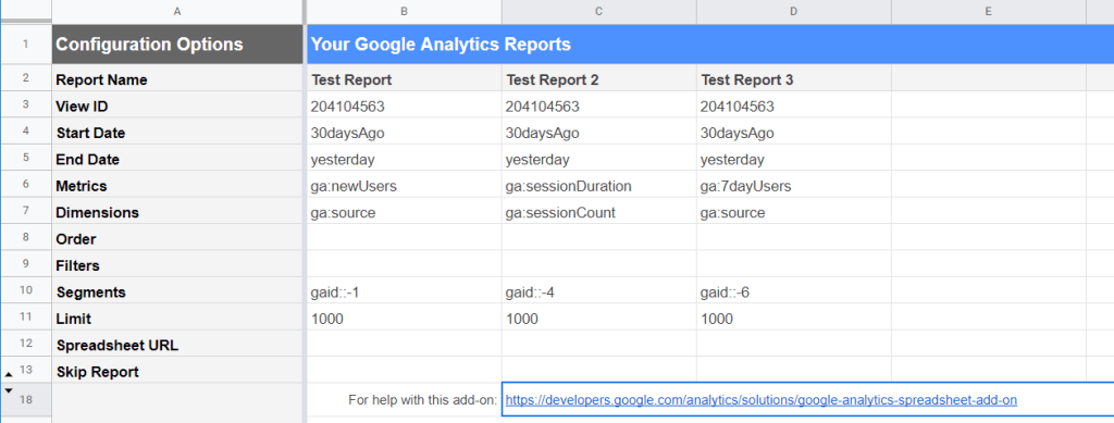 Example of Google Analytics reports created and scheduled in Google Sheets: