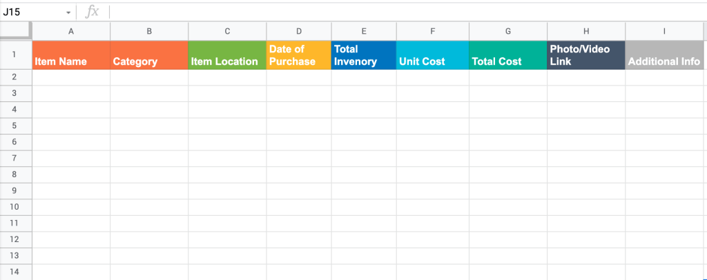 Pantry Google Sheets inventory template