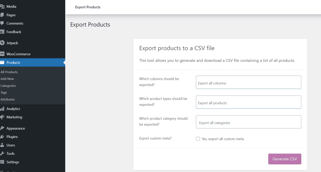 Export Products to a CSV file from WooCommerce