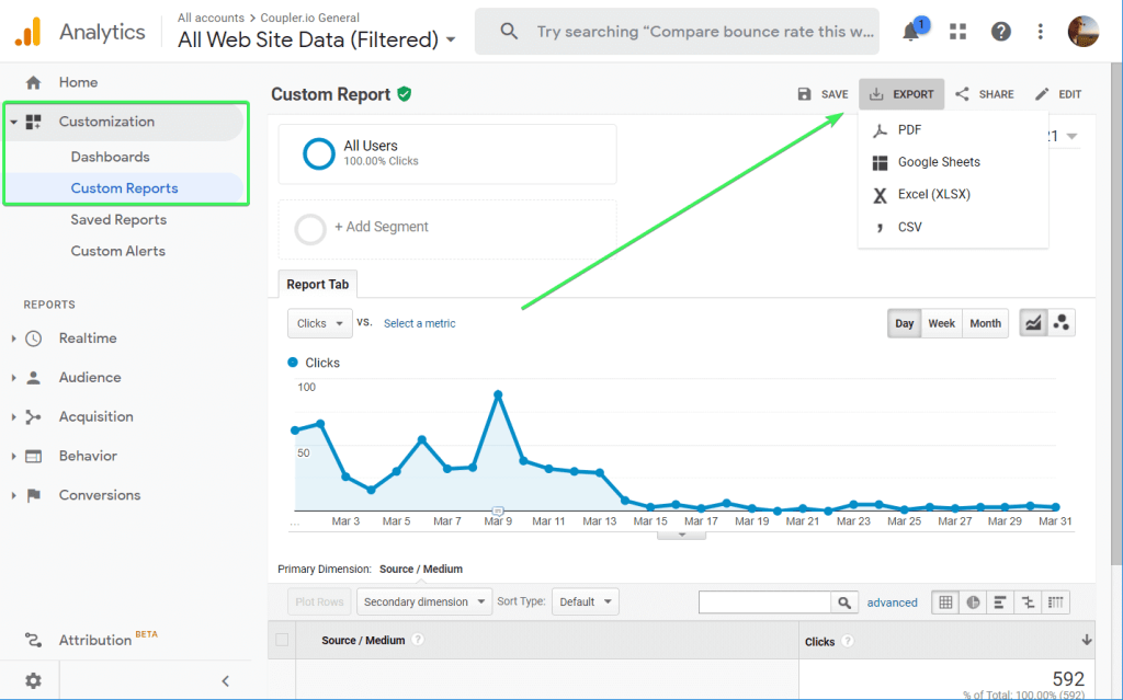 How to export custom reports from Google Analytics