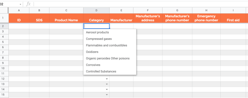 Chemical inventory template in Google Sheets