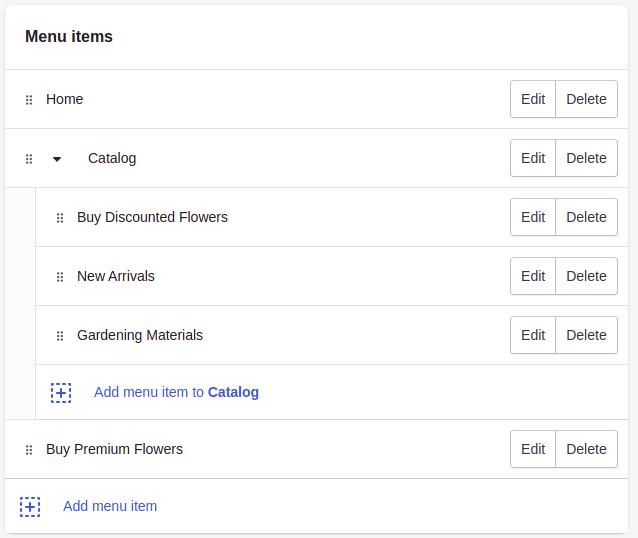 Add drop down menu in Shopify