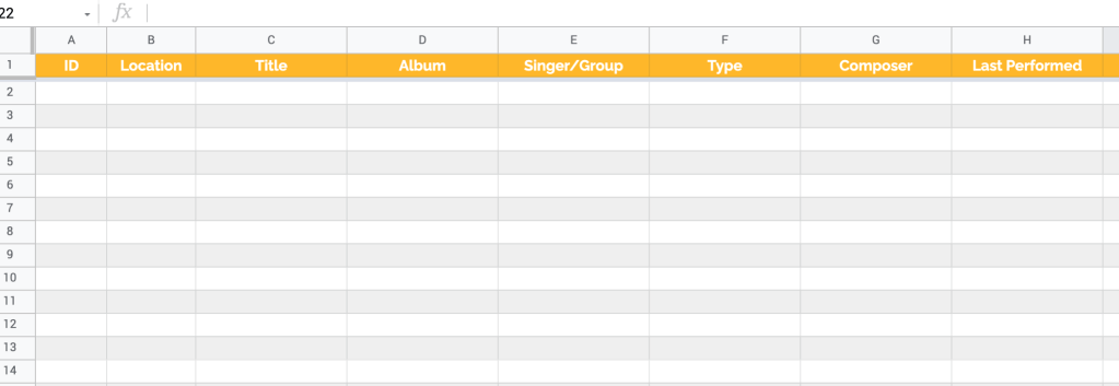 Music inventory template for Google Sheets