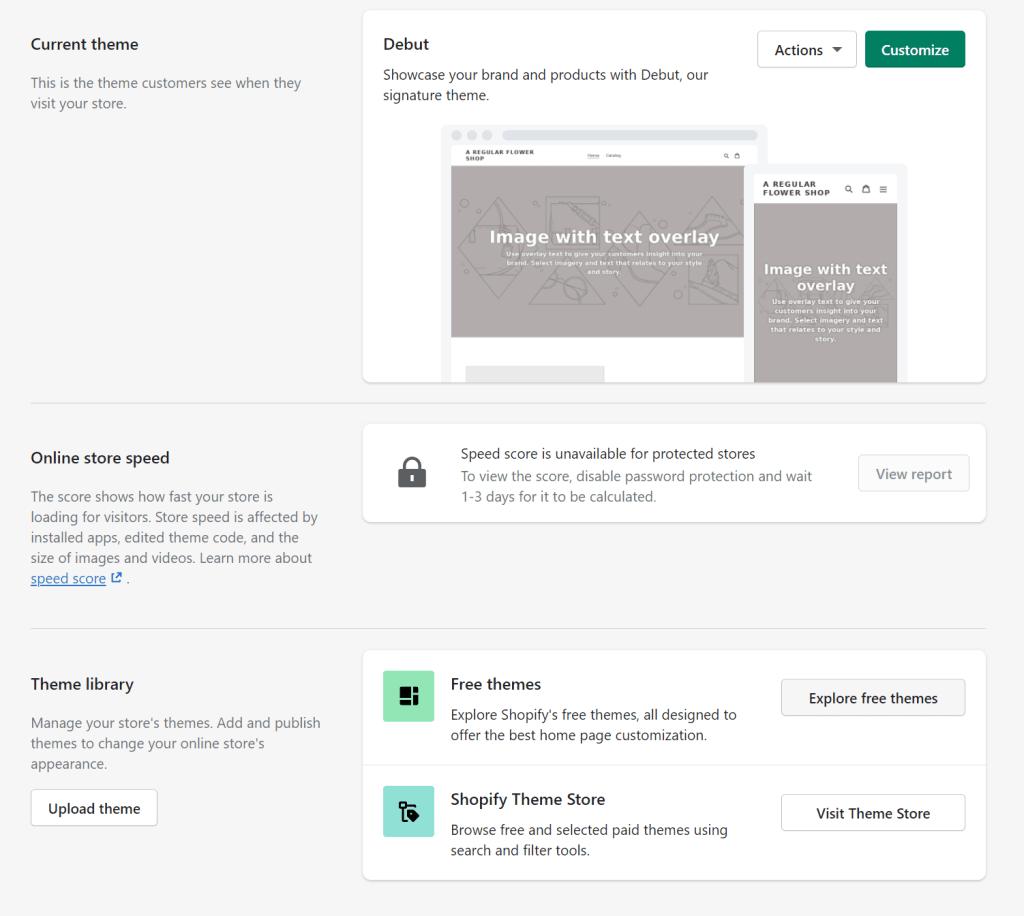 Shopify admin panel - choose a theme