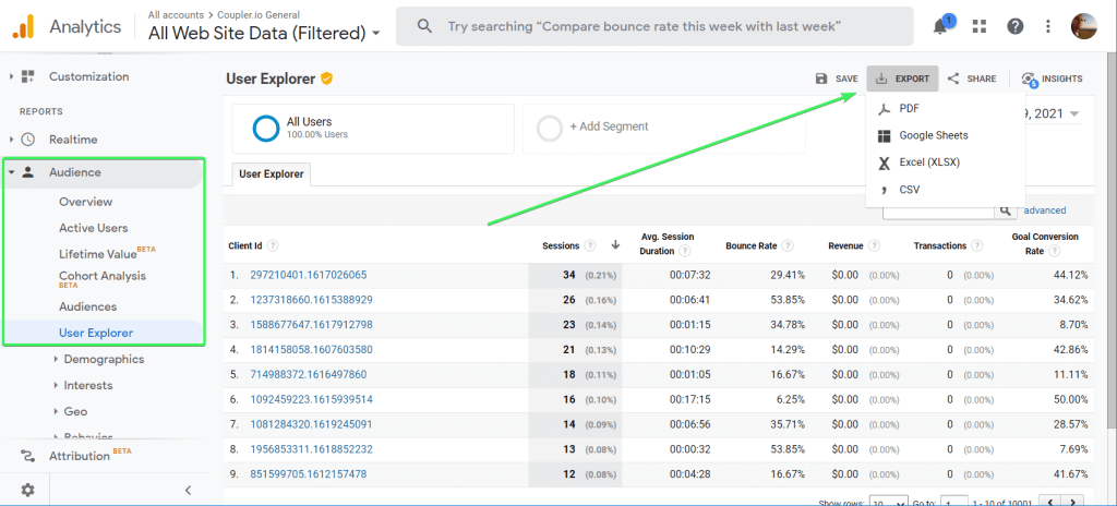 How to export users and sessions data from Google Analytics