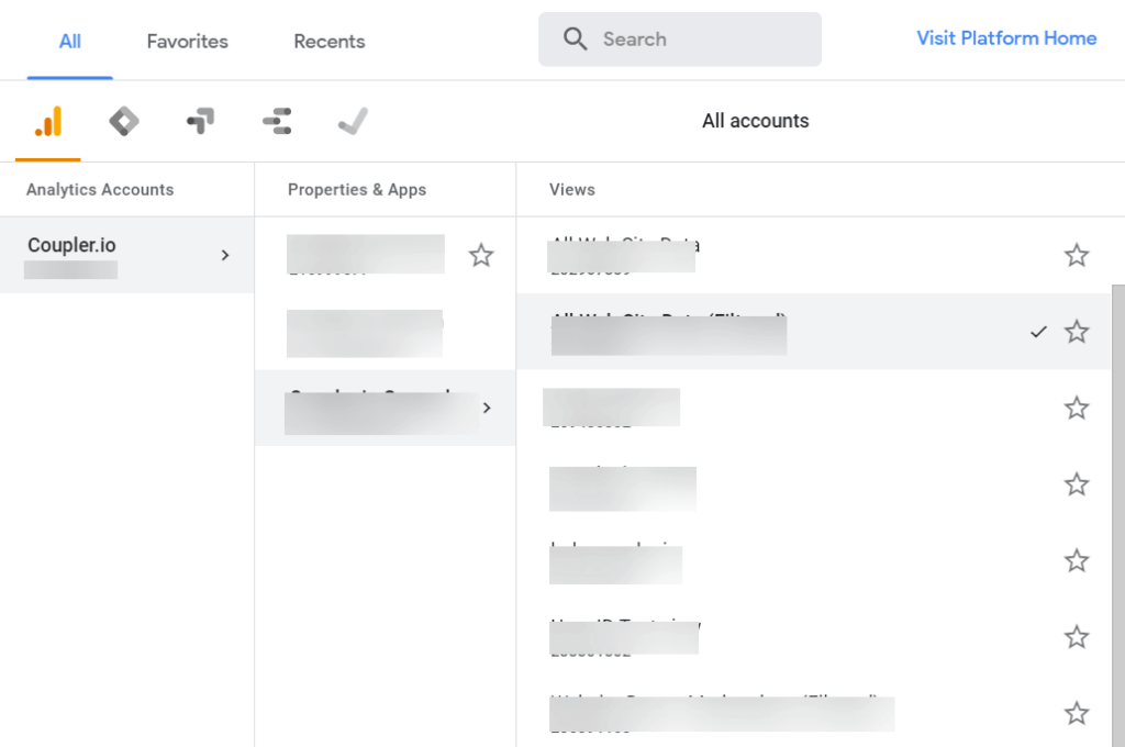 How to export Google Analytics account list