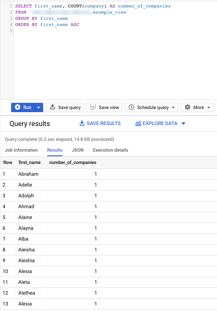 ORDER BY clause query example