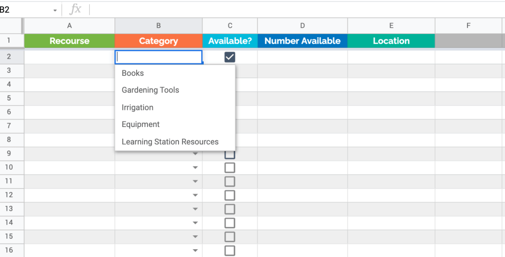Classroom inventory template in Google Sheets
