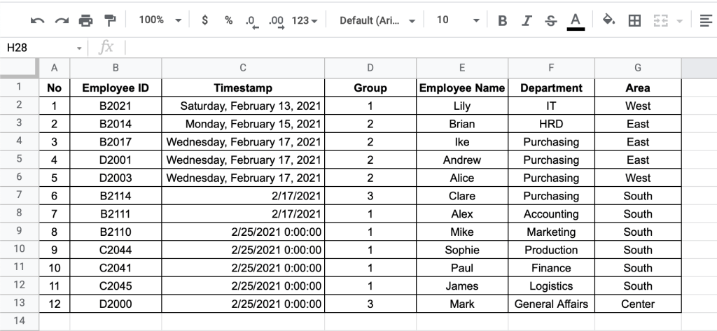 Data for validating date format
