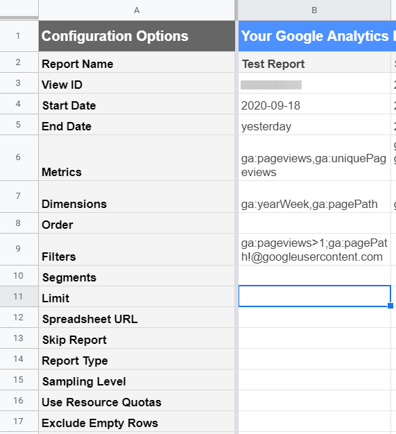 The Limit field in Google Analytics add-on report configuration
