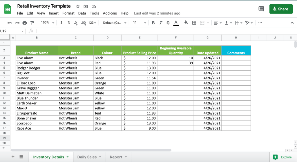 Retail inventory Google Sheets template