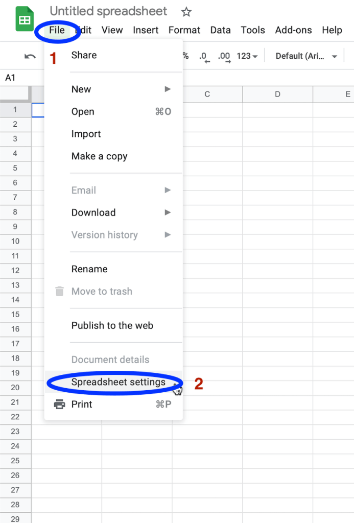 Set your Google Sheets location