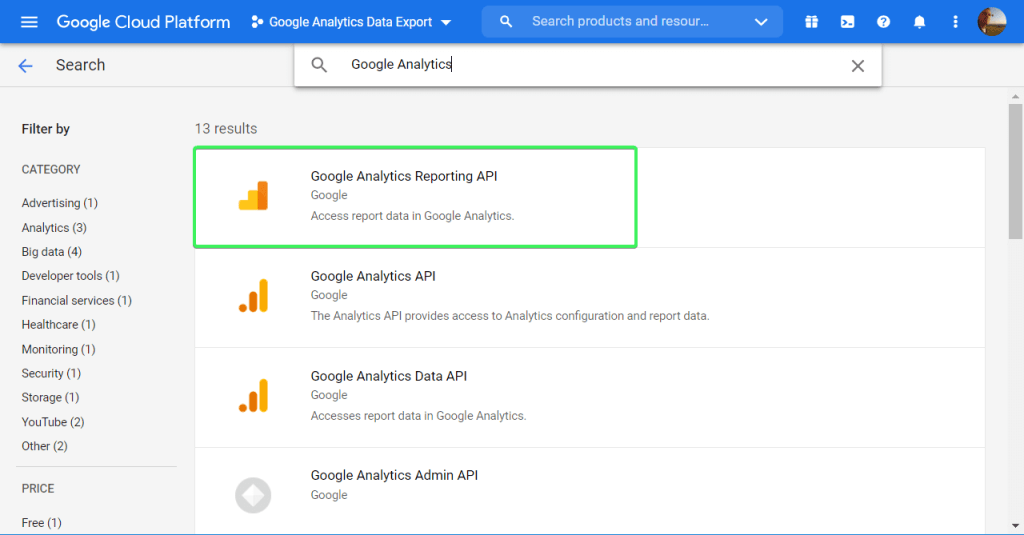 Find the Google API you want to enable