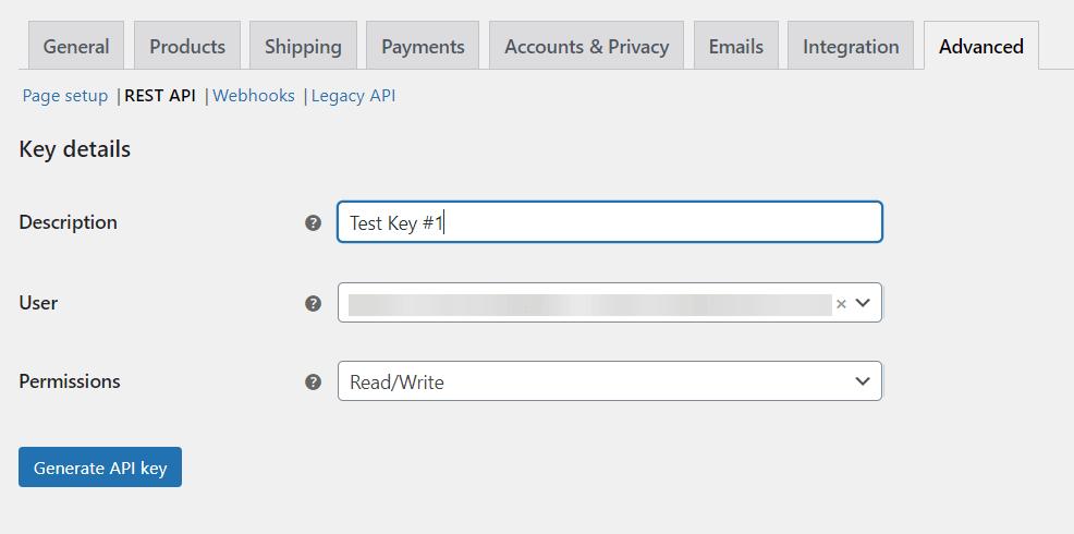 WooCommerce API key details
