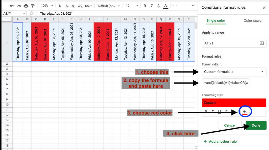 How to highlight weekends in Google Sheets using conditional format