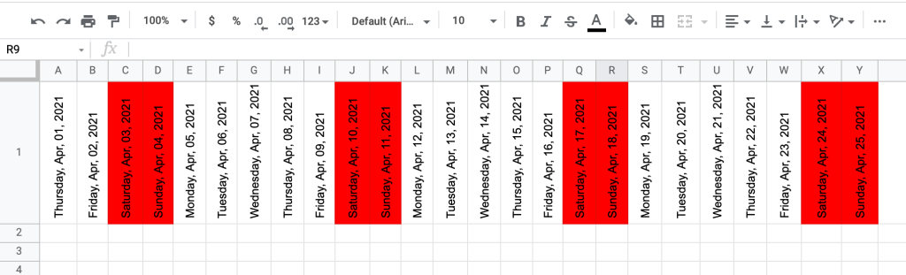How to highlight weekends in Google Sheets using conditional format- result
