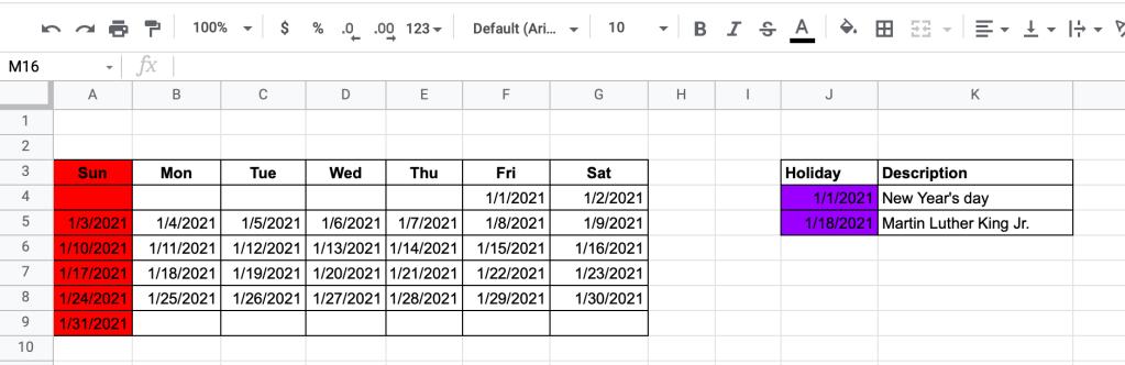 Prepare a calendar data set