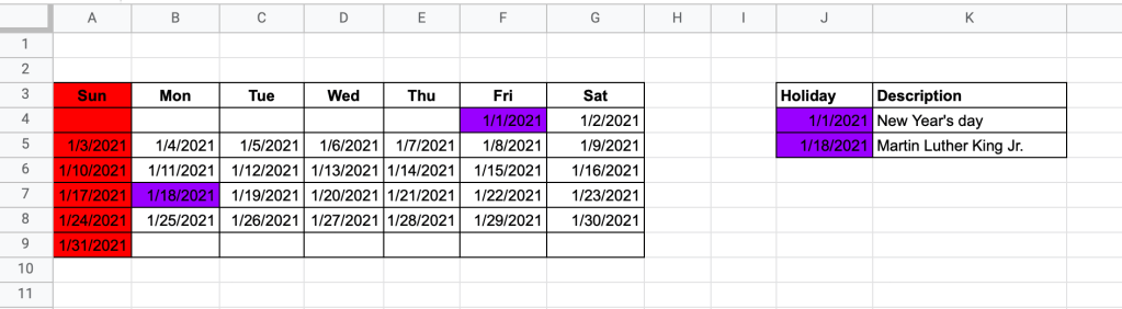 How to highlight a list of holidays in a calendar range in Google Sheets - result