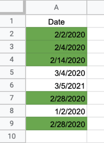How to highlight the date if it falls between two dates - result