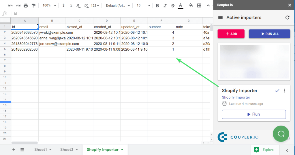 Shopify products to Google Sheets
