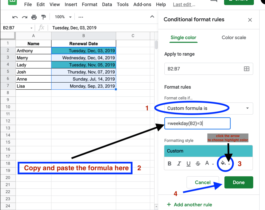 How to highlight specific weekdays in Google Sheets