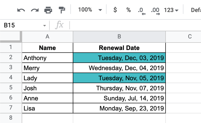 How to highlight specific weekdays in Google Sheets - result