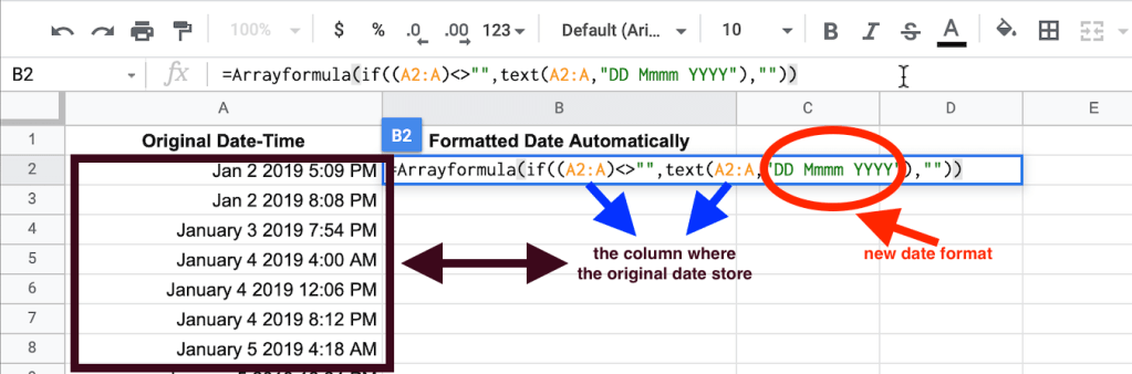 Arrayformula for automatically converting to date format