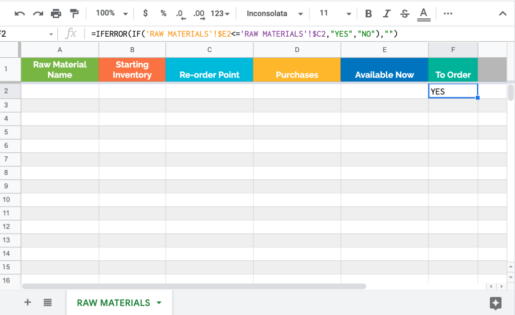 Raw materials (manufacturing) inventory Google Sheets template