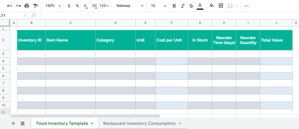 Restaurant inventory spreadsheet template in Google Sheets