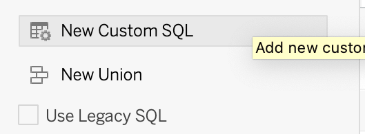 From the left panel, click the New Custom SQL option.