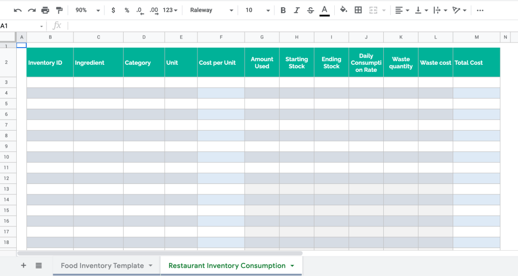 Restaurant inventory order template in Google Sheets