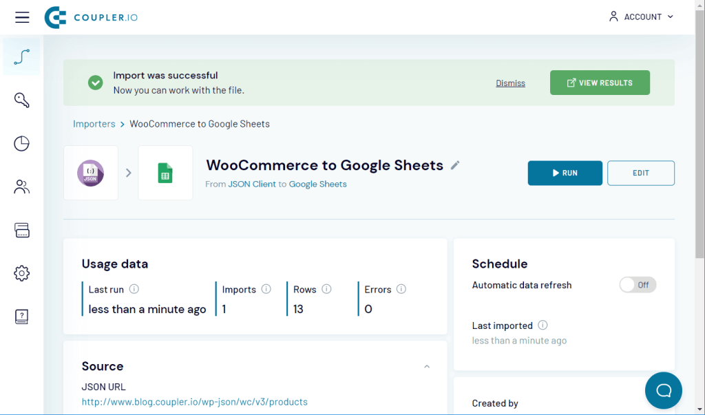 WooCommerce to Google Sheets successful import