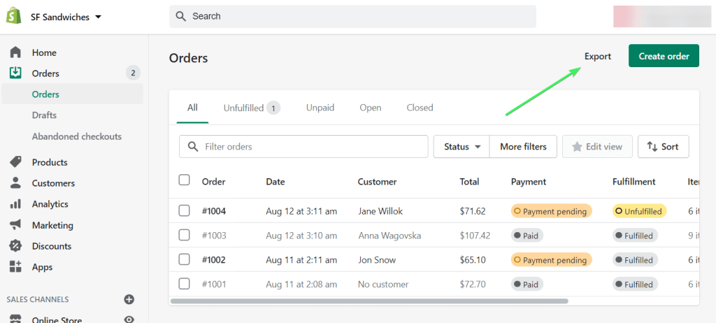 Shopify export orders