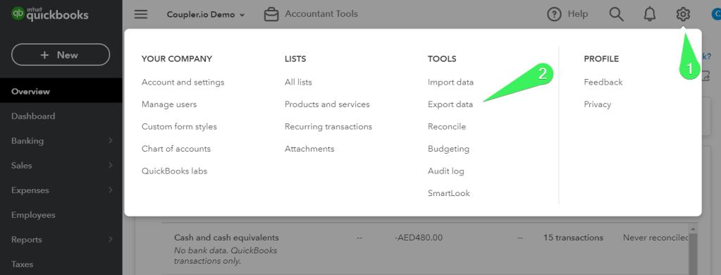 QuickBooks Export Data