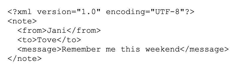 XML data example