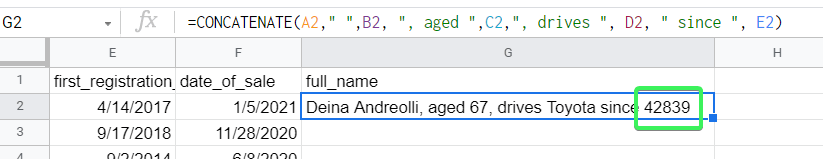 Google Sheets CONCATENATE date strings (unexpected result)