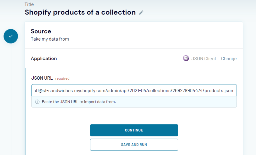 JSON URL for exporting Shopify products collection