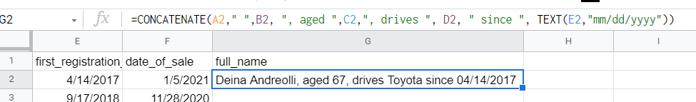 Google Sheets CONCATENATE date strings (with TEXT)