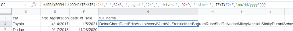 CONCATENATE nested with ARRAYFORMULA will return all values from columns merged in a row