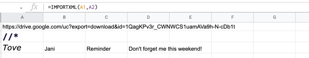 Formula to import an XML file from Google Drive to Google Sheets