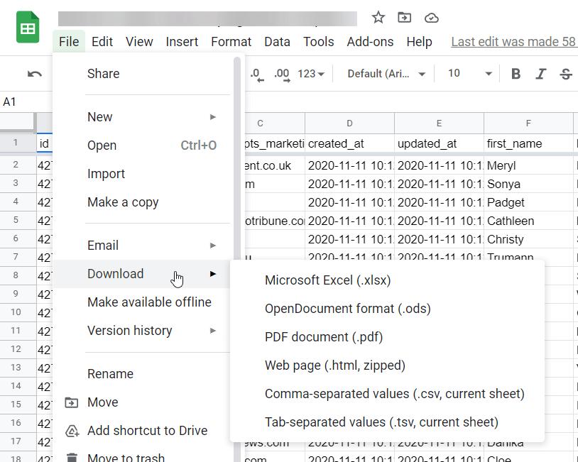 Export Google Sheets as CSV