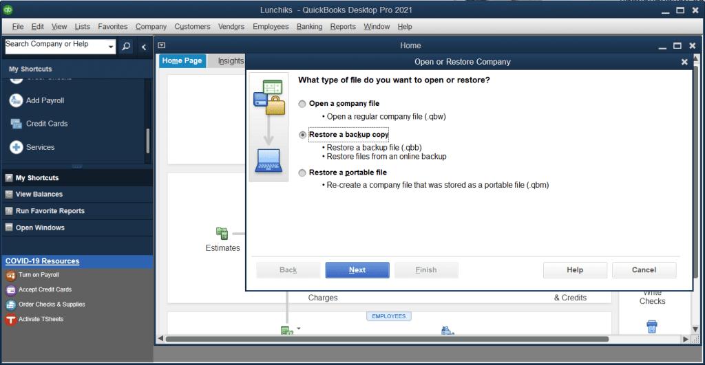 Restore a backup copy