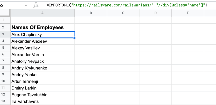 IMPORTXML formula to extract the name class from a page
