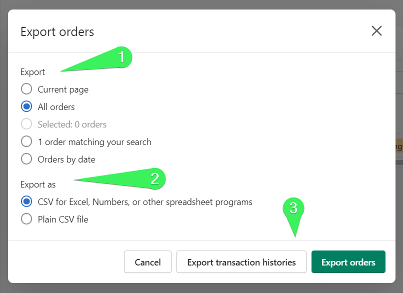 Configure Shopify export orders