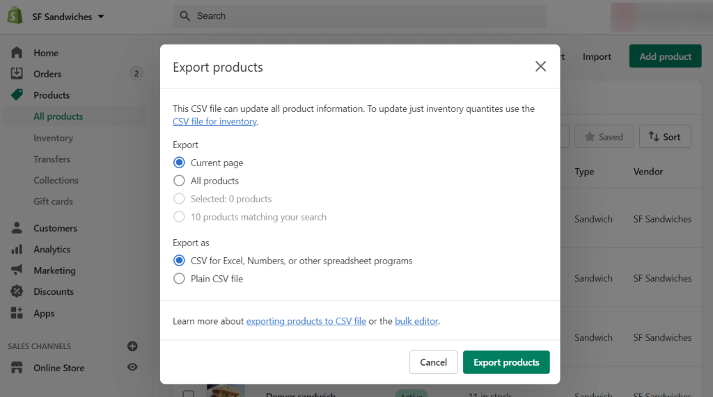 """Then they select which products to export, as well as the CSV file format, and click """"Export products""""."""