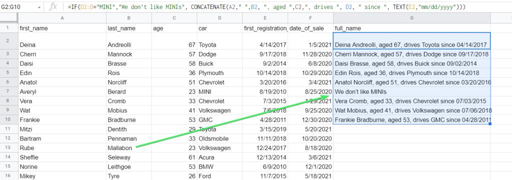Google Sheets CONCATENATE + IF formula example