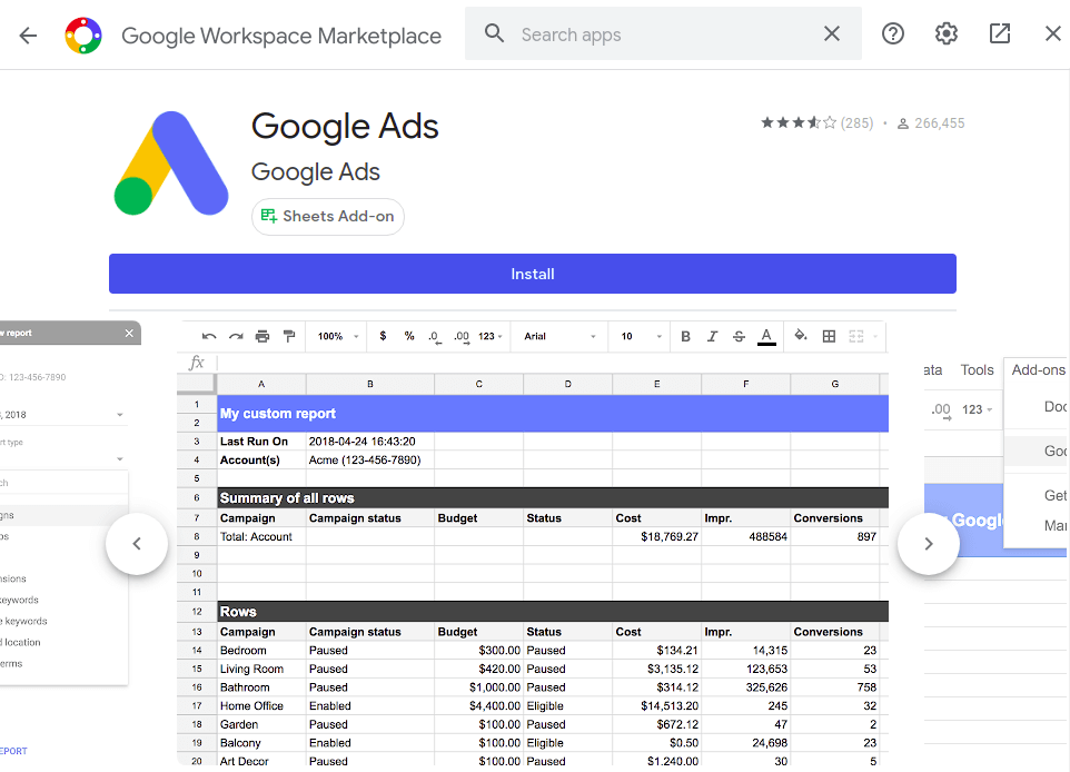Google Ads add-on for Google Sheets