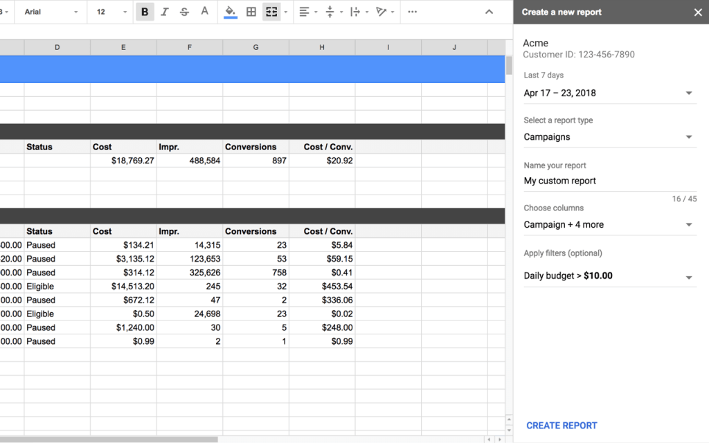 Create a new report Google Ads