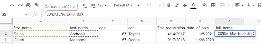 Google Sheets CONCATENATE cells